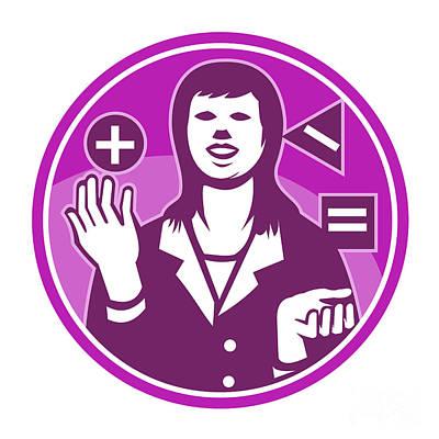 Office Worker Businesswoman Juggling Woodcut Poster by Aloysius Patrimonio