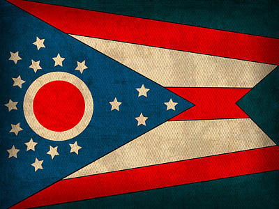 Ohio State Flag Art On Worn Canvas Poster by Design Turnpike