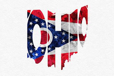 Ohio Typographic Map Flag Poster by Ayse Deniz