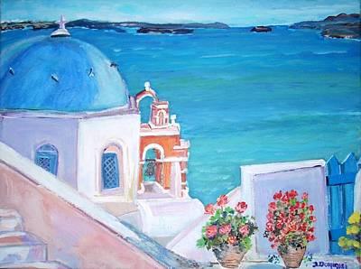 Oia In Santorini Poster by Teresa Dominici