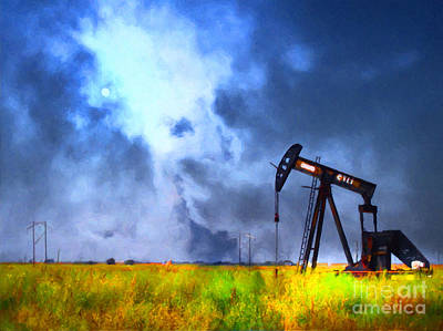 Oil Pump Field Poster by Wingsdomain Art and Photography