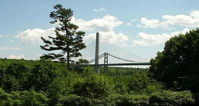 Old And New Bridges Over Penobscot Poster by David Fiske