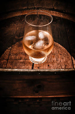 Old Barrel Top Glass Of Hard Liquor Poster by Jorgo Photography - Wall Art Gallery