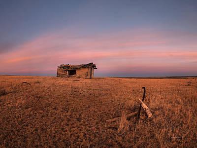 Old Cabin Sunset 1 Poster by Leland D Howard