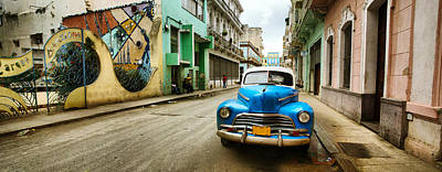 Old Car And A Mural On A Street Poster by Panoramic Images