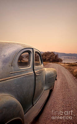 Old Car On A Dirt Road Poster by Jill Battaglia