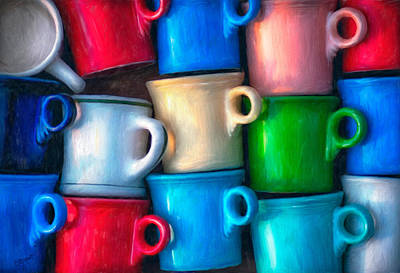 Old Cups For Sale Poster by Brenda Bryant