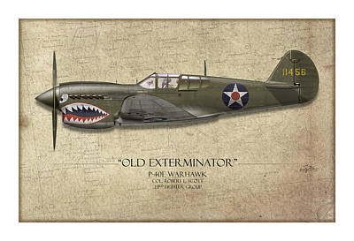 Old Exterminator P-40 Warhawk - Map Background Poster by Craig Tinder