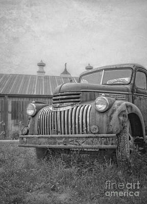 Old Farm Truck Out By The Barn Poster by Edward Fielding