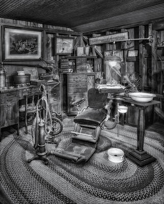 Old Fashioned Dentist Office Bw Poster by Susan Candelario