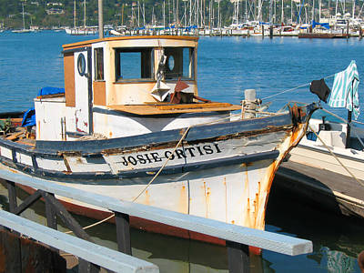 Old Fishing Boat In Sausalito Poster by Connie Fox