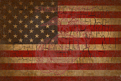 Old Glory And The Marine Corps Poster by Dawn Romine