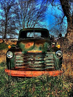 Old Green Chevy Poster by Julie Dant