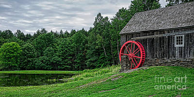 Old Grist Mill Vermont Red Water Wheel Poster by Edward Fielding