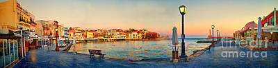 Old Harbour In Chania Crete Greece Poster by David Smith