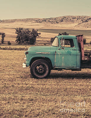 Old Hay Truck In The Field Poster by Edward Fielding