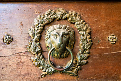 Old Lion Head Doorknocker In Prague Poster by Matthias Hauser