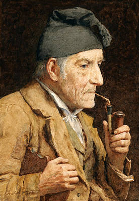 Old Man Smoking His Pipe Poster by Albert Anker