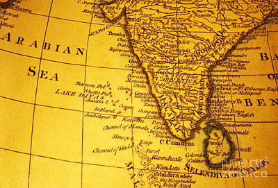 Old Map Of India And Arabian Sea Poster by Colin and Linda McKie