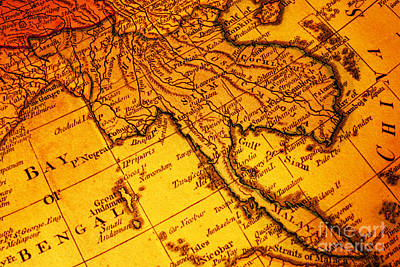 Old Map Thailand Siam Malaya Asia Burma Thailand Cambodia Laos Poster by Colin and Linda McKie