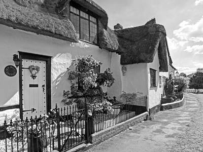 Old Mill Thatched Cottage Bw Poster by Gill Billington