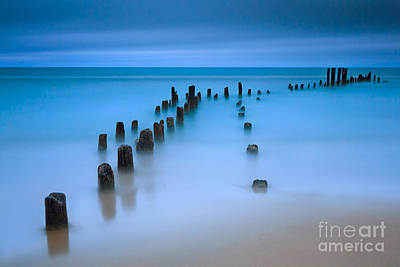 Old Pier Pilings On Lake Michigan Poster by Katherine Gendreau