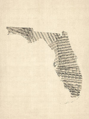 Old Sheet Music Map Of Florida Poster by Michael Tompsett