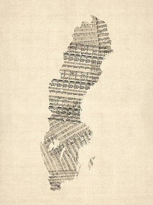 Old Sheet Music Map Of Sweden Poster by Michael Tompsett