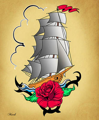 Old Ship Tattoo  Poster by Mark Ashkenazi