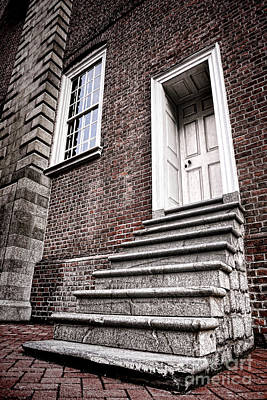 Old Steps And Door Poster by Olivier Le Queinec