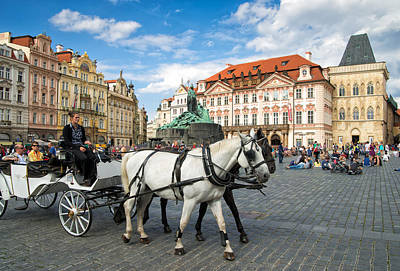 Old Town Square And Horse-drawn Carriage In Beautiful Prague Poster by Matthias Hauser