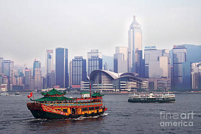 Old Traditional Chinese Junk In Front Of Hong Kong Skyline Poster by Lars Ruecker