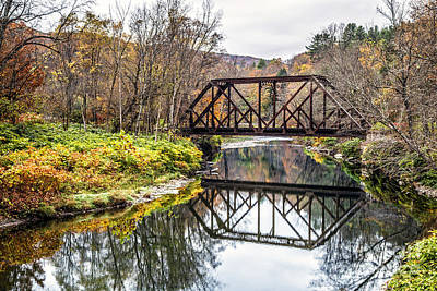 Old Vermont Train Bridge In Autumn Poster by Edward Fielding