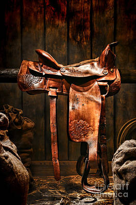 Old Western Saddle Poster by Olivier Le Queinec