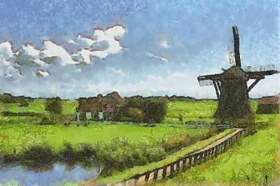 Old Windmill Poster by Ayse Deniz