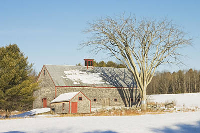 Old Wood Shingled Barn In Winter Maine Poster by Keith Webber Jr