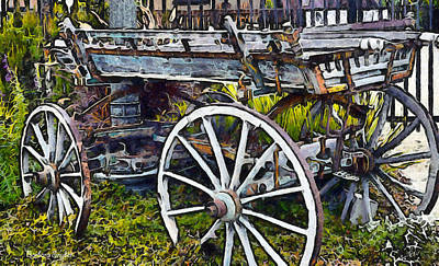 Old Wood Wagon Digital Poster by Barbara Snyder