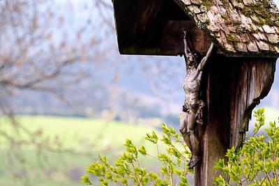 Old Wooden Crucifix  Poster by Willo Breisacher
