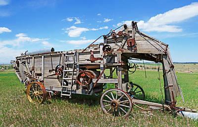 Old Wooden Threshing Machine Poster by Terril Heilman