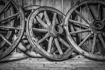 Old Wooden Wheels Poster by Erik Brede