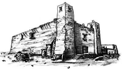 Old Zuni Mission Church Poster by Del Gaizo