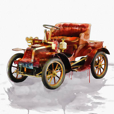 Oldtimer Car Watercolor Poster by Marian Voicu