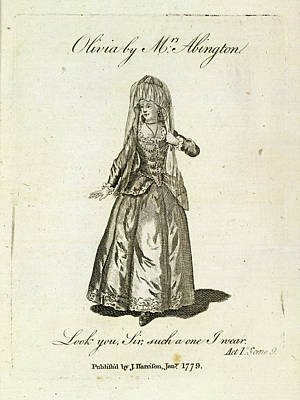 Olivia Played By Mrs Abington Poster by British Library