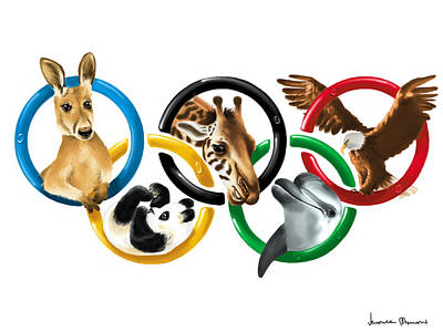 Olympic Animals Poster by Veronica Minozzi