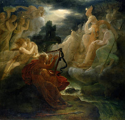 On The Bank Of The Lora, Ossian Conjures Up A Spirit With The Sound Of His Harp, C.1811 Oil Poster by Francois Pascal Simon, Baron Gerard