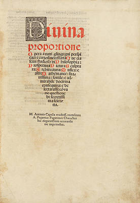 'on The Divine Proportion' (1509) Poster by Library Of Congress
