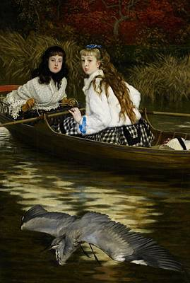 On The Thames     A Heron Poster by Tissot