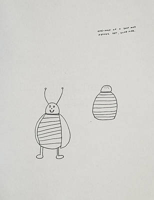 One Half Of A Salt And Pepper Set Gone Mad Poster by Rick Stecz