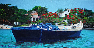 One Senery Of Praia Dos Ossos Poster by Chikako Hashimoto Lichnowsky