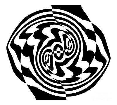 Op Art Black White  Abstract No.199. Poster by Drinka Mercep